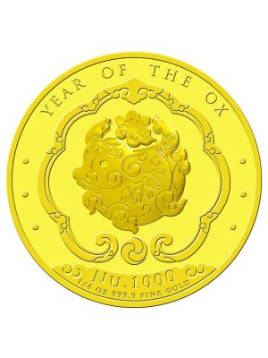 Bhutan Lunar Ox 1/4 oz 999.9 Fine Gold Proof Colour Coin