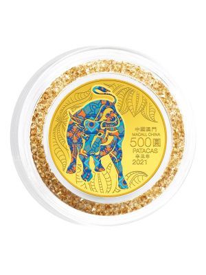 Macau Lunar Ox 1/2 oz 999.9 Fine Gold Proof Colour Coin with Crystal Ring