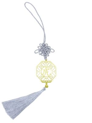 Tiger Gold-plated Charm with Silver Tassel