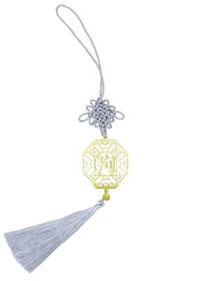 Dog Gold-plated Charm with Silver Tassel