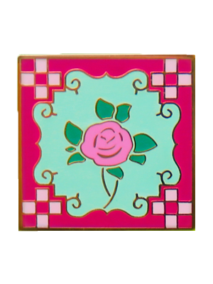 Pink Peranakan Tile Badge (Single)