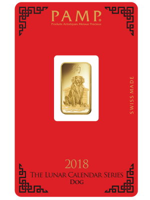 PAMP Lunar Dog 5gm 999.9 Fine Gold Ingot
