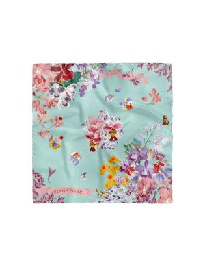 Singapore Orchid Floral Short Scarf