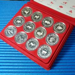 1981 - 1992 Singapore Lunar Series $10 Silver Proof Coin ( Lot of 12 Animals)