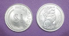 1982 Singapore $1 Stylized Lion coin