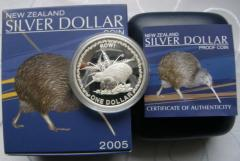 2005 New Zealand Rowi Kiwi Icons 1 Oz Silver Proof Coin