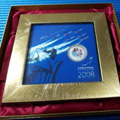 2008 Singapore RSAF Black Knights 999 Fine Silver Medallion with Golden Frame