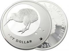 2010 Icons of New Zealand 1 ounce Kiwi Silver Proof Coin