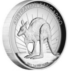 Australia 2011 Kangaroo High Relief 1oz Silver Proof Coin