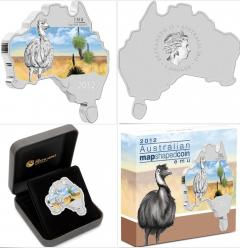 2012 Australia Map Shaped Coin - Emu 1oz Silver Proof Coin
