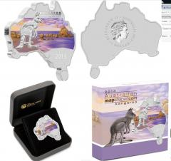 2013 Australia Map Shaped Coin - Kangaroo 1oz Silver Proof Coin