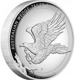 2014 Australia 5 oz silver proof high relief coin - wedge-tailed eagle