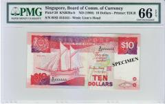 "Singapore Ship Series $10 SOLID Number ""444444"" 66 EPQ"